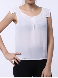 Brief Scoop Neck White Sleeveless Chiffon Blouse For Women - WHITE