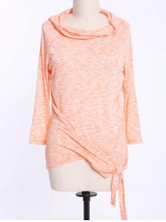 Fashionable Off-The-Shoulder Solid Color Plus Size 3/4 Sleeve T-Shirt For Women - ORANGE XL