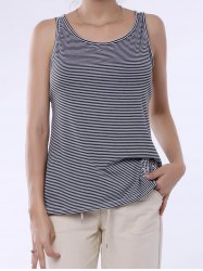 Stylish Scoop Neck Lace Splicing Striped Embroidery Tank Top For Women - GRAY
