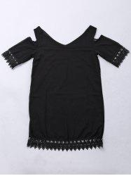 Chic V-Neck Solid Color Shoulder Cut Out Lace Hem Dress For Women - BLACK