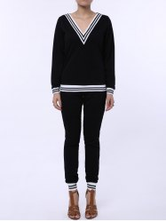 Fashionable V-Neck Long Sleeve Striped Sweatshirt + Fitted Pants Twinset For Women - BLACK