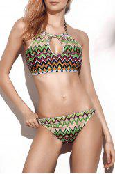 Alluring Halter Printed Cut Out Women's Bikini Set