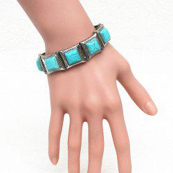 Stylish Square Fake Turquoise Elastic Bracelet For Women