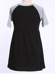 Casual Raglan Sleeve Color Block Plus Size T Shirt Dress -