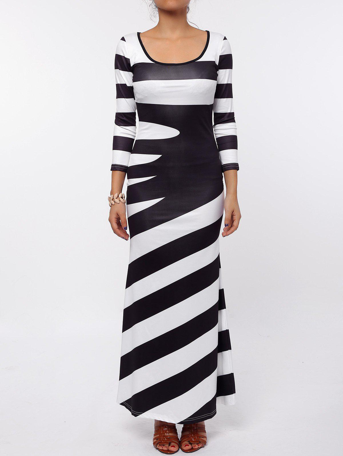 Maxi Scoop Neck Striped Evening DressWOMEN<br><br>Size: 2XL; Color: BLACK; Style: Brief; Material: Polyester; Silhouette: A-Line; Dresses Length: Ankle-Length; Neckline: Scoop Neck; Sleeve Length: Sleeveless; Pattern Type: Striped; With Belt: No; Season: Fall,Spring; Weight: 0.309kg; Package Contents: 1 x Dress;