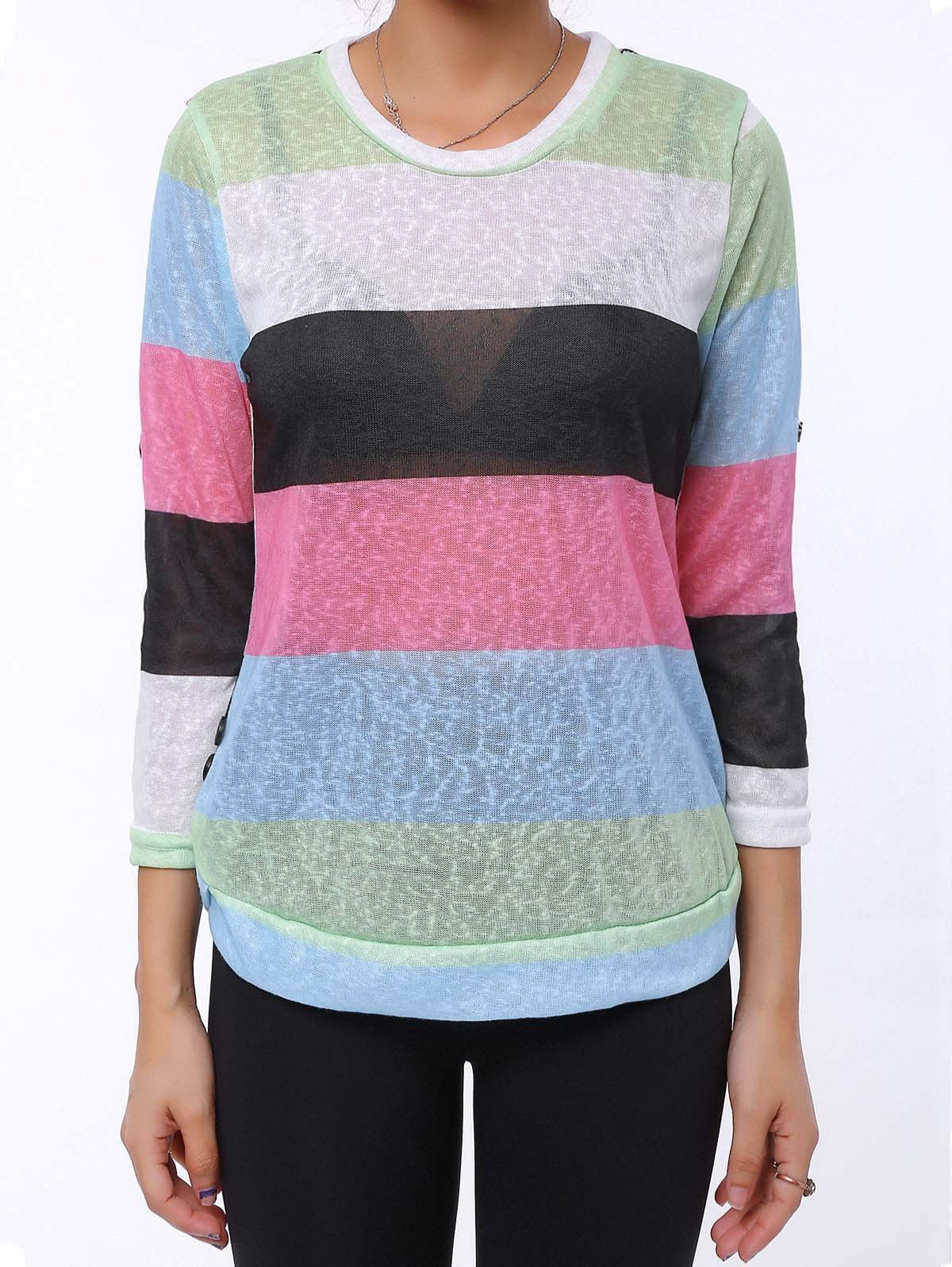 Sale Trendy Scoop Neck 3/4 Sleeve Striped Colored Women's T-Shirt
