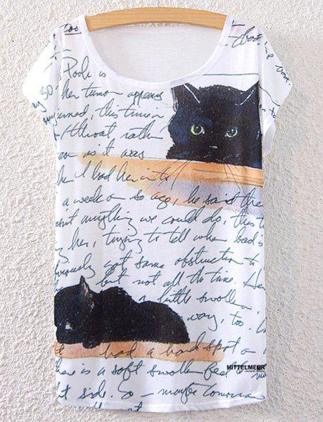 Short Sleeve Kitten Print T-ShirtWOMEN<br><br>Size: ONE SIZE(FIT SIZE XS TO M); Color: WHITE; Material: Polyester; Shirt Length: Regular; Sleeve Length: Short; Collar: Scoop Neck; Style: Casual; Season: Summer; Pattern Type: Letter; Weight: 0.112kg; Package Contents: 1 x Tee;