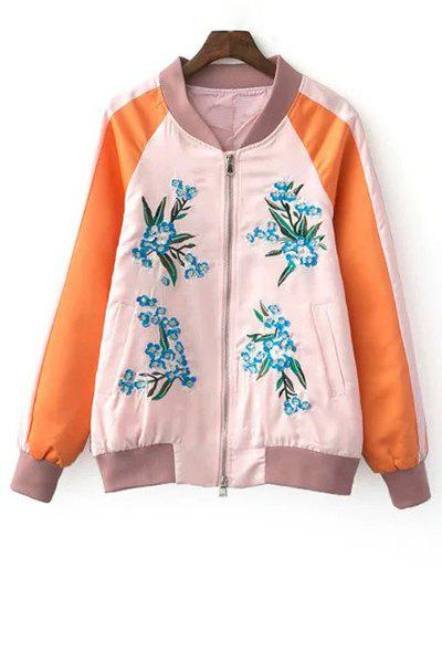 Outfits Stylish Stand Neck Long Sleeve Fitting Floral Embroidery Women's Jacket