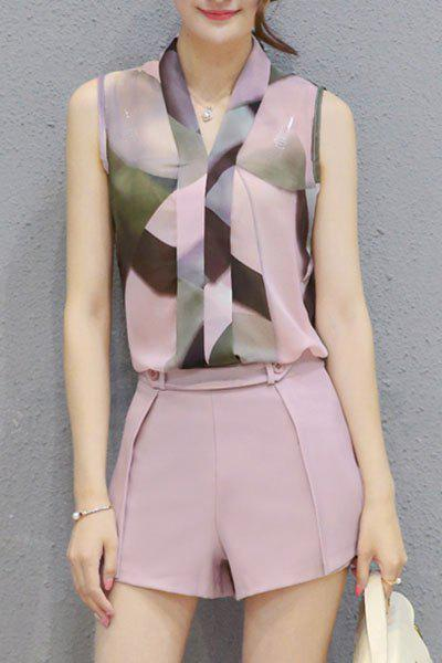 Best Ladylike V Neck Sleeveless Printed Chiffon Top + Solid Color Shorts Twinset For Women
