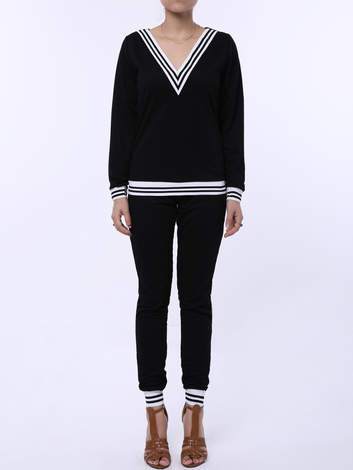Shops Fashionable V-Neck Long Sleeve Striped Sweatshirt + Fitted Pants Twinset For Women