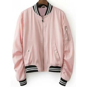 Stylish Pink Women's Baseball Jacket - Pink - S