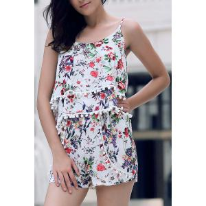 Trendy Floral Print Layered Cami Top and Shorts Women's Twinset - RED L