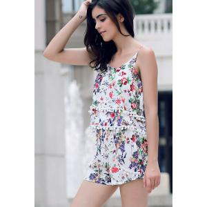 Trendy Floral Print Layered Cami Top and Shorts Women's Twinset -