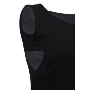 Trendy Round Neck Sleeveless Hollow Out Black Tank Top For Women -