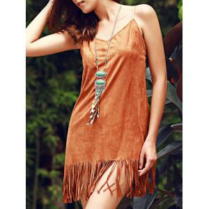 Stylish Fringed Suede Cami Dress For Women