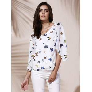 Sexy V-Neck 1/2 Sleeve Print Chiffon Blouse For Women -