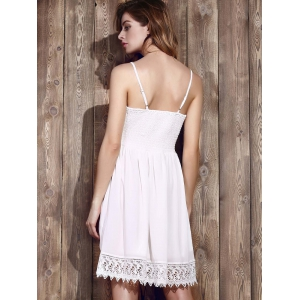 Strappy Lace Panel Going Out Flare Dress - WHITE M