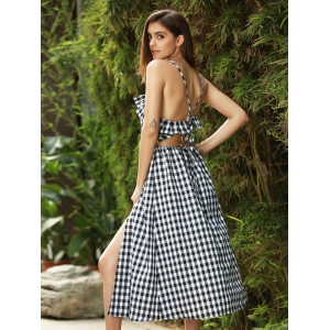 Strappy Gingham Check Ruffle Sleeveless Tea Longueur Robe de patineuse -
