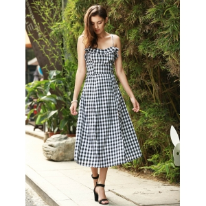 Strappy Gingham Check Ruffle Sleeveless Tea Length Skater Dress - WHITE/BLACK L