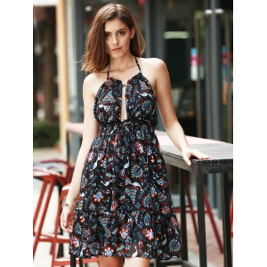 Halter Backless Peacock Print Swing Casual Dress -