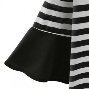 Stylish Plus Size Bell Sleeve Striped T-Shirt and Solid Color Dress Twinset For Women -