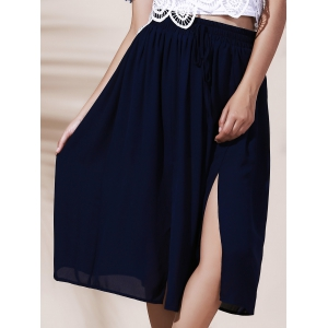 A Line Midi Slit Skirt - NAVY BLUE ONE SIZE(FIT SIZE XS TO M)