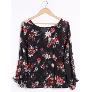Sexy Plunging Neck Long Sleeve Floral Print Blouse For Women -