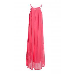 Bohemian Style Spaghetti Strap Women's Pleated Dress - WATERMELON RED S