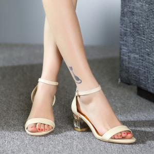 Ladylike Chunky Heel and Ankle Strap Design Sandals For Women -