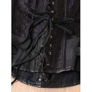 Retro Style Steampunk Alloy Buckle Lace-Up Corset For Women - BLACK XL