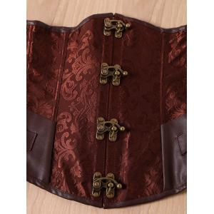 Retro Style Steampunk Alloy Buckle Lace-Up Corset For Women - BROWN M