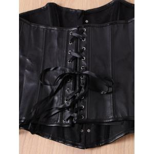 Chic Black Faux Leather Alloy Buckle Lace-Up Corset For Women - BLACK 5XL