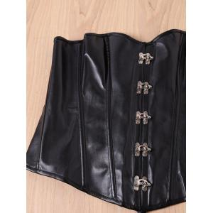 Chic Black Faux Leather Alloy Buckle Lace-Up Corset For Women - BLACK S