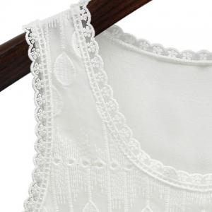 Casual Plus Size Jewel Collar Lace Spliced Solid Color Tank Top For Women -
