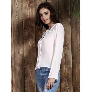 Sexy Plunging Neck Long Sleeve Lace Up T-Shirt For Women -