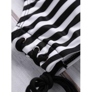 Stylish High Neck Striped Lace-Up Swimsuit For Women -