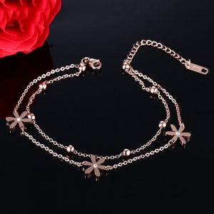 Stylish Multilayer Flower Bead Anklet For Women -