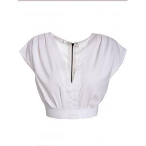 Stylish V-Neck Sleeveless Self-Tie Crop Top For Women - White - L