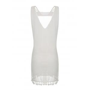 Sexy V-Neck Sleeveless Fringed Cut Out Chiffon Dress For Women -