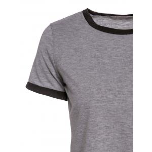 Simple Style Jewel Neck Short Sleeve One Pocket Design T-Shirt For Women -