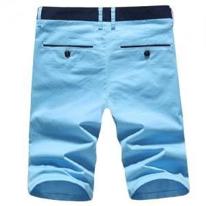 Modish Simple Color Block Straight Leg Zip Fly Shorts For Men -