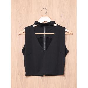 Stylish Stand-Up Collar Sleeveless Pure Color Hollow Out Crop Top For Women