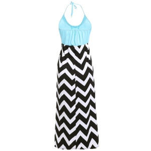 Maxi Halter Neck Zigzag Beach Dress -