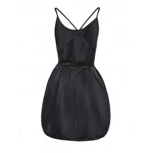 Spaghetti Strap Cross-Back Low-Cut Ball Gown Dress - BLACK S
