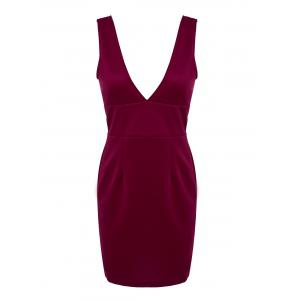 Chic Plunging Neck Sleeveless Solid Color Low-Cut Dress For Women