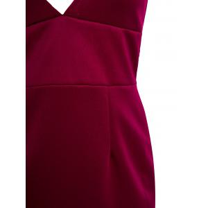 Chic Plunging Neck Sleeveless Solid Color Low-Cut Dress For Women - WINE RED M