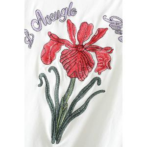 Stylish Round Neck Short Sleeve Floral Embroidery Women's T-Shirt -