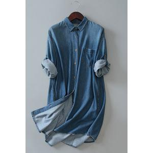 Stylish Bleach Wash Long Sleeve Loose Women's Shirt Denim Dress - Deep Blue - One Size(fit Size Xs To M)