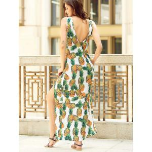 Chic Women's V Neck Sleeveless Furcal Pineapple Print Dress -