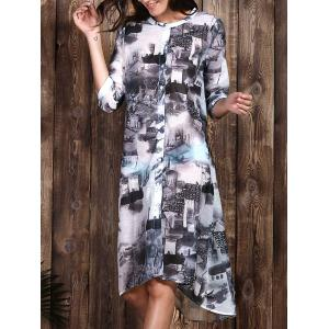 Chic Women's Ethnic Print 1/2 Sleeve Loose Dress